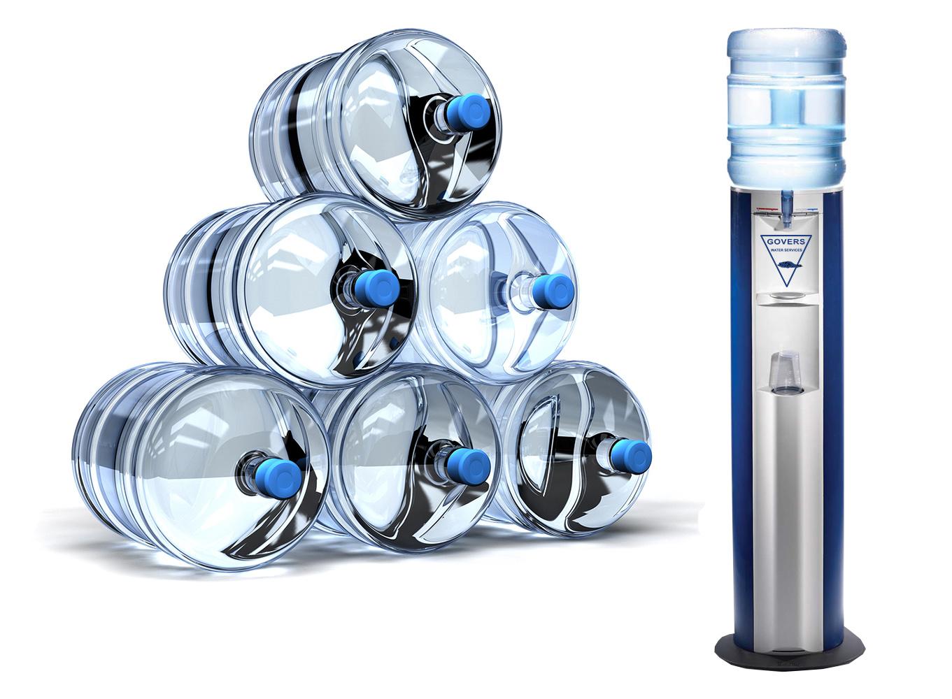 Water in waterflessen van 18,9 en 15 liter van verschillende merken waterkoelers.